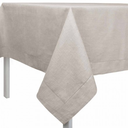 Rektangulær eller firkantet dug i naturligt linned fremstillet i Italien - Chiana