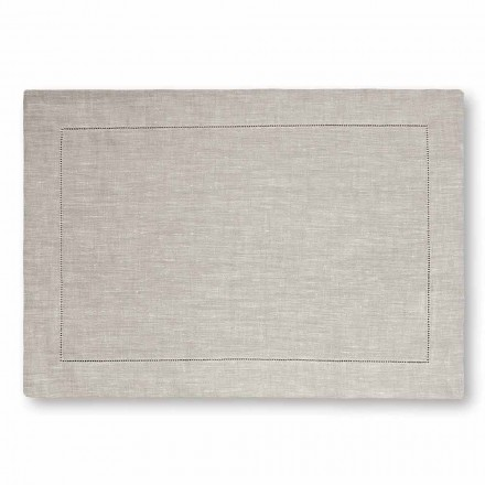 Amerikansk dækkeserviet i ren hvid eller naturlig linned lavet i Italien, 2 stk. - Chiana