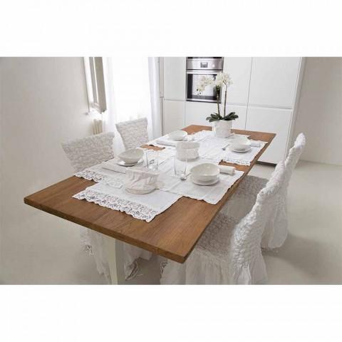 Dækkeserviet i rent hvidt linned med ramme eller blonder fremstillet i Italien - Davincino