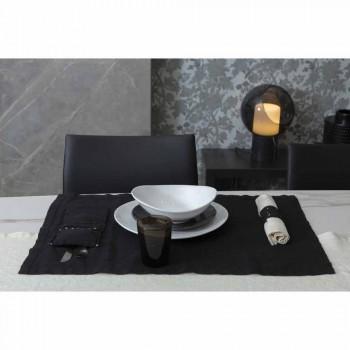 Amerikanske bordplader og bestikbakker med krystaller i sort linned, 4 stykker - Nabuko