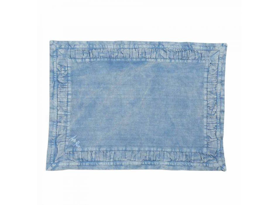 Amerikanske placemats i blå linned eller ryg med prægning, 2 stykker - milone