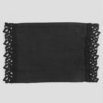 Amerikanske placemats i linned med Poema-blonder, 3 farver 2 stykker - Leonardino
