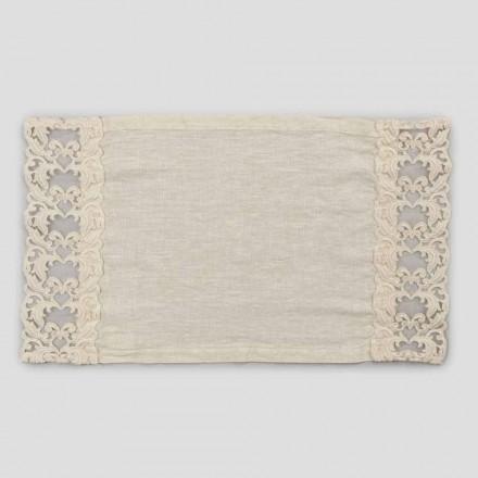 Amerikanske morgenmadsdækkeservietter i linned med blonder, design i 2 dele - Kippelino