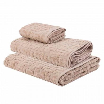 Trio af badehåndklæder i terry bomuldshåndklæde, ansigt og gæst - Ginestra