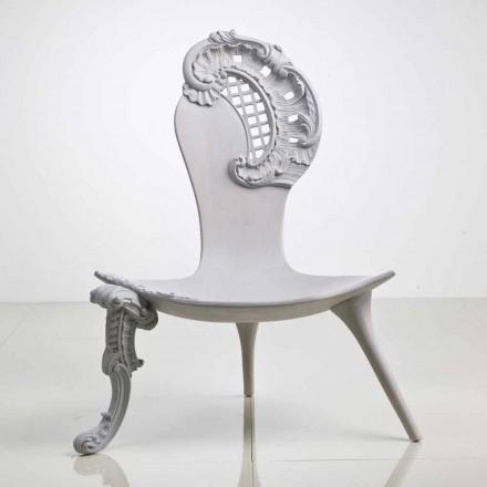 Throne håndskårne massivt egetræ grå design, Leon