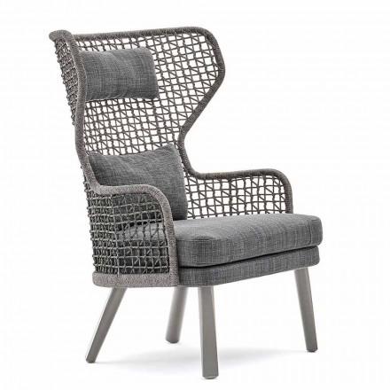 Varaschin Emma moderne udendørs lænestol med stof nakkestøtte