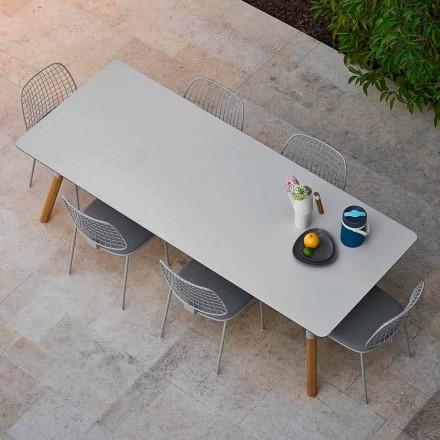Varaschin Link haven udtræksbord med ben af teaktræ, H75 cm