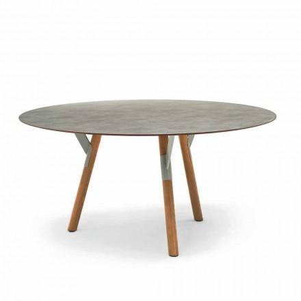 Varaschin link Runde udendørs bord med ben af teaktræ, H 65cm
