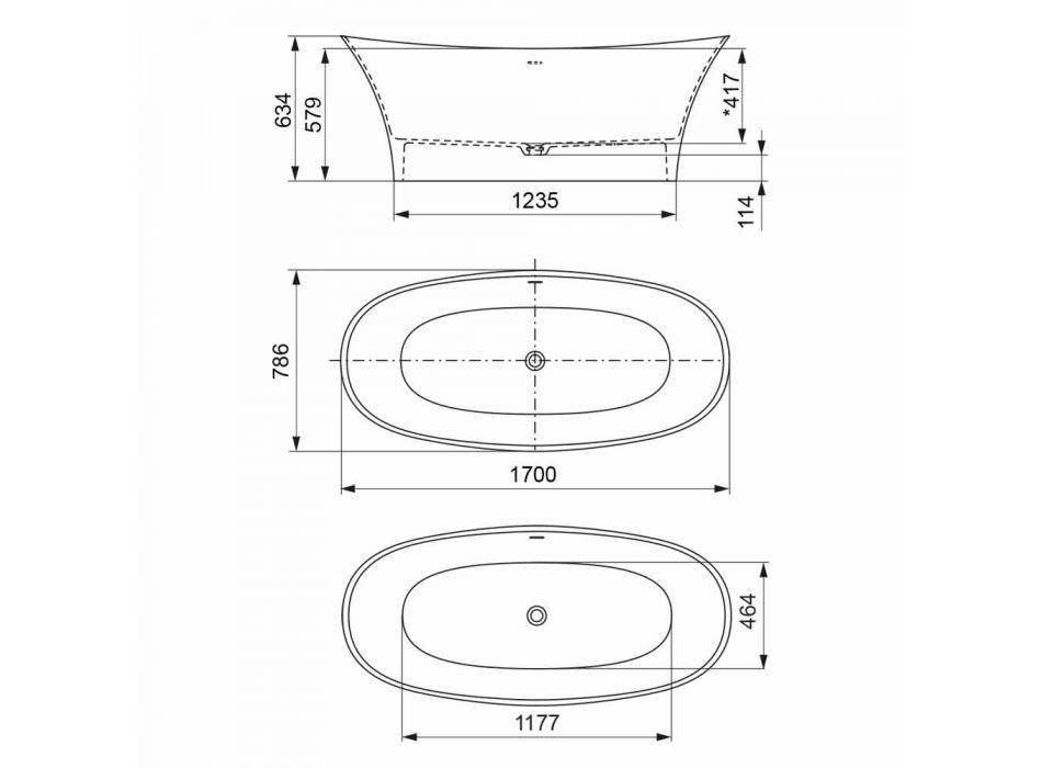 Fritstående To-Tone Badekar, Solid Surface Design - Look