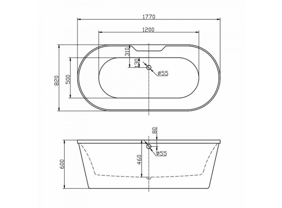 Bath hvid fritstående akryl 1770x820 mm i juni moderne design
