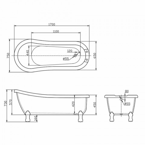 Bath fritstående moderne design i hvid akryl Dawn 1700x750mm