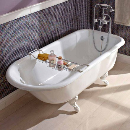 Vintage fritstående designbadekar i hvidt støbejern, fremstillet i Italien - Marwa