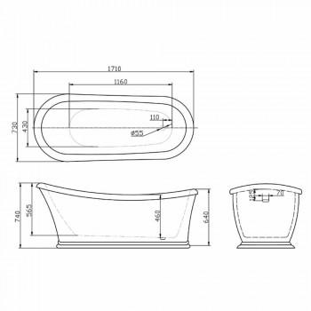Bath hvid moderne fritstående Akryl Vinter 1710x730 mm