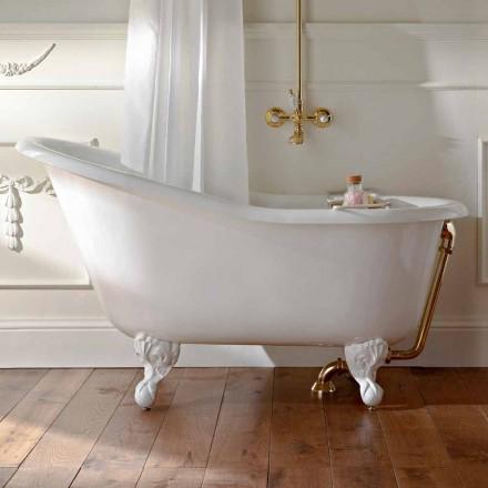 Vintage fritstående badekar i hvidt støbejern fremstillet i Italien - Paulina