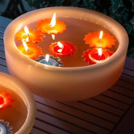 Rundt voksbadekar med farvede flydende lys fremstillet i Italien - Utina