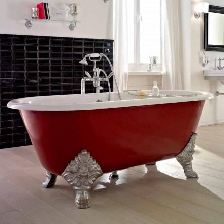 Vintage fritstående badekar med støbejernsfødder, fremstillet i Italien - Naike