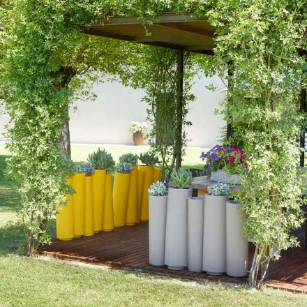 Udendørs dekorative vase Slide Bamboo moderne design lavet i Italien