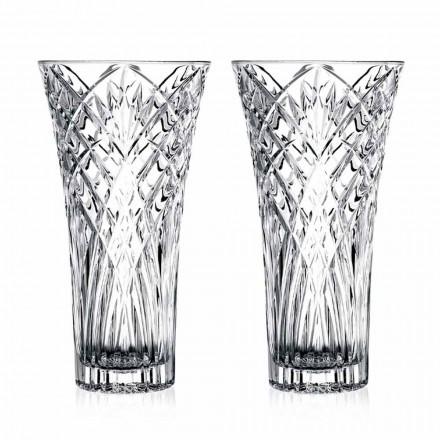 Vintage design vase i gennemsigtig økologisk krystal 2 stykker - Cantabile
