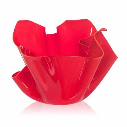 Rød vase indendørs / udendørs design draperet Pina, fremstillet i Italien