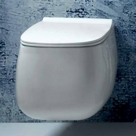 Moderne design hvid keramisk suspenderet vase Gaiola, lavet i Italien