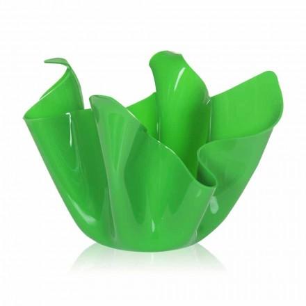 Grøn vase indendørs / udendørs design draperet Pina, fremstillet i Italien