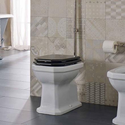 Hvid keramisk gulvvase med sort sæde fremstillet i Italien - Nausica