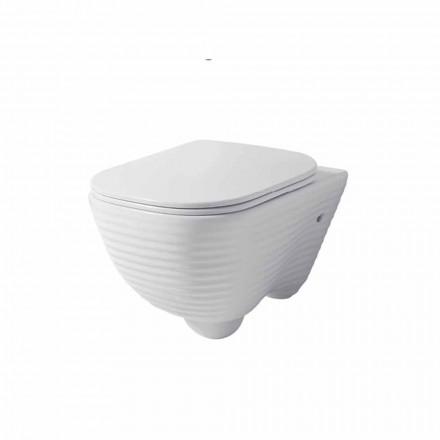 Moderne ophængt toiletvase i hvid eller farvet keramisk Trabia