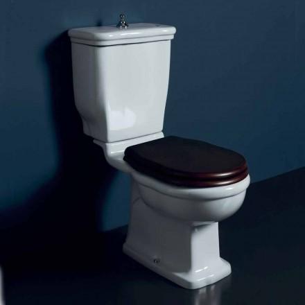 Vaso-delt toilet i hvid keramik Style 72x36 cm, fremstillet i Italien