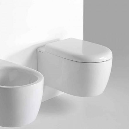 Vægthængt toilet i moderne design i farvet keramik fremstillet i Italien - Lauretta