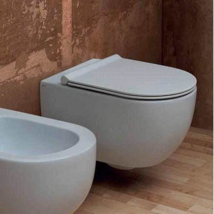 Væg hang toilet i moderne design keramisk stjerne 55x35 Made in Italy
