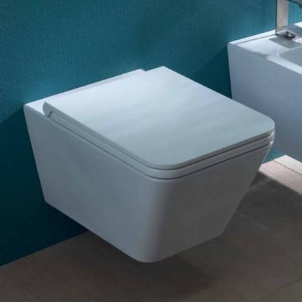 Keramisk vase hængende toilet, moderne design, Sol Kvadrat lavet i Italien