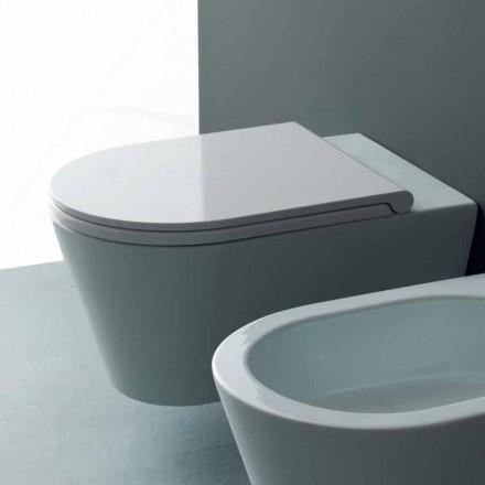 Pot hang toilet i et moderne Sun Round 57x37 cm keramik, lavet i Italien