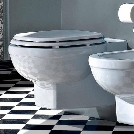 Wc Suspended Vase Classic Style i hvid keramik fremstillet i Italien - Marwa