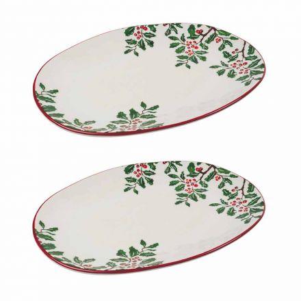 Julebakke eller ovalt serveringsplade i porcelæn 2 stykker - Pungitopo