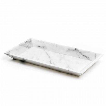 Rektangulært bakke i hvid Carrara-marmor fremstillet i Italien - Vassili