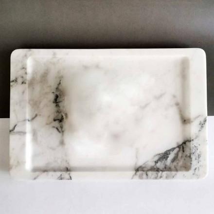 Rektangulær bakke i moderne venet hvid marmor fremstillet i Italien - Stora