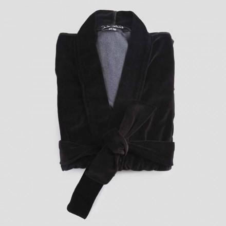 Kimono-kappe i sort chenille med Farnese-blonder, luksus lavet i Italien - Kyoto